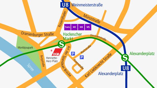 Anfahrtskizze DGB Bundesvorstand  Berlin Henriette-Herz-Platz